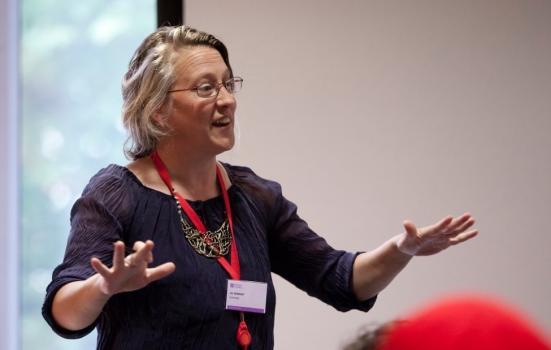 Photo of Jo Verrent presenting