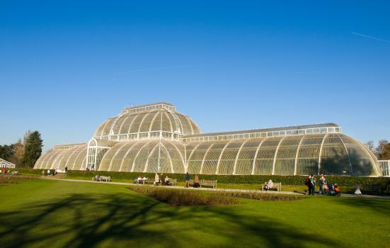 A photo of a large glasshouse and lawn