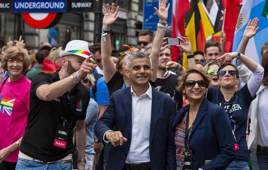 Sadiq Khan at London's Pride Festival, 2016