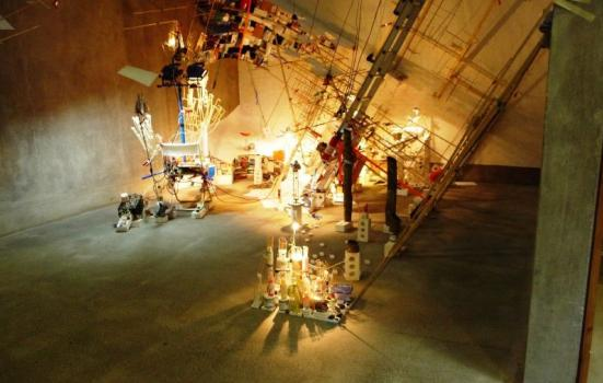 A photo of a large elaborate and brightly lit artwork