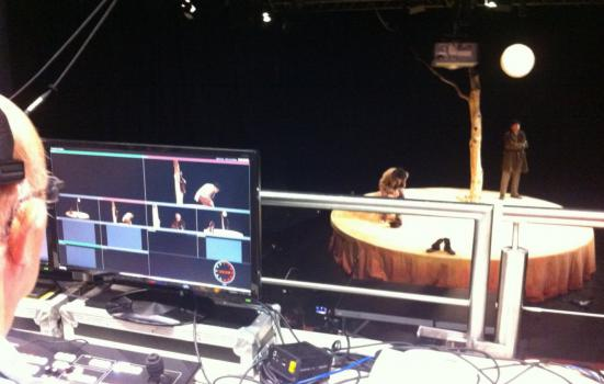Photo of filming a stage play