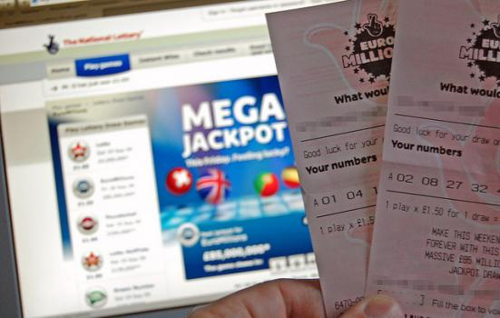 Photo of EuroMillions tickets and Lottery website