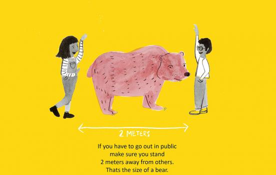 Hand drawn image of two people standing either side of a bear to illustrate the social distance required between two people