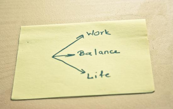 Photo of a post it note illustrating work-life balance