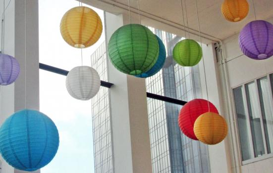 Photo of multicoloured paper lanterns