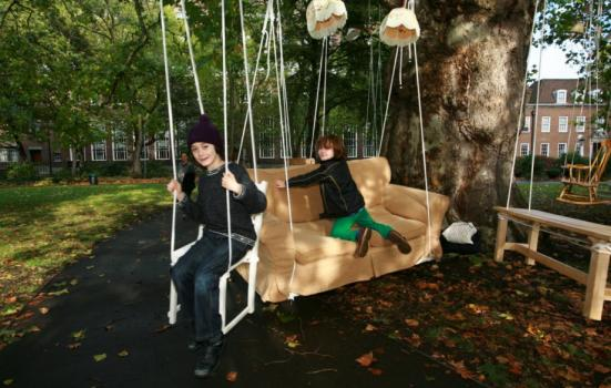 Image of children playing on sofa at Bloomsbury Festival