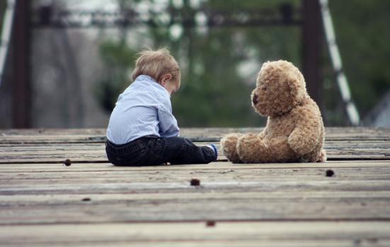 Boy and teddy bear on bridge
