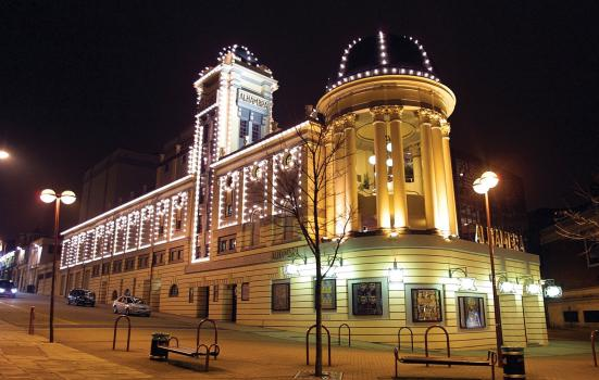 Exterior of Alhambra Theatre at night