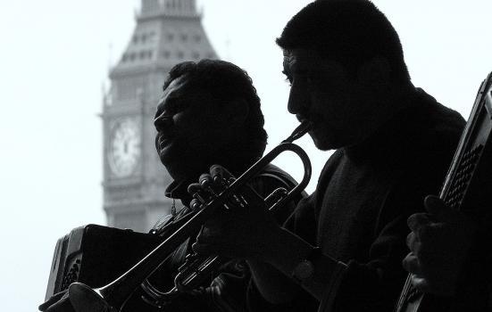 Photo of musicians in front of Big Ben