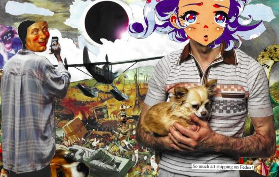 Picture of a collage including a dog and a cartoon face