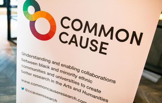 Photo of a poster titled Common Cause outlining their research