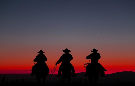 A photo of cowboys against a red sunset