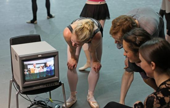 Image of dancers viewing screen