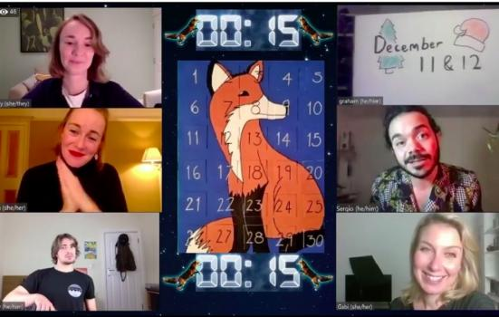 title confrence call screen with 6 performers working from home and a digital advent calender displayed in the center. A digital clock is counting down from 15.
