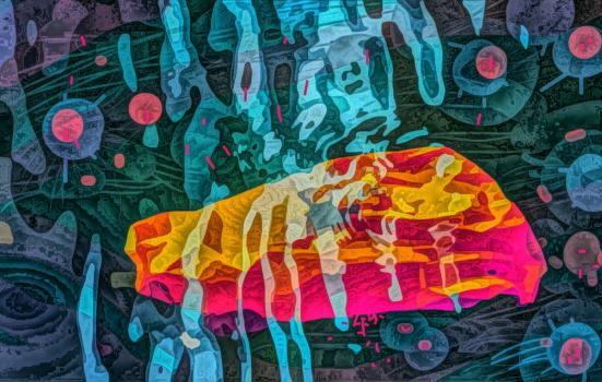 Colourful absract artwork with a bckground of deep blues and grey swirls with bright pink and yellow layer over