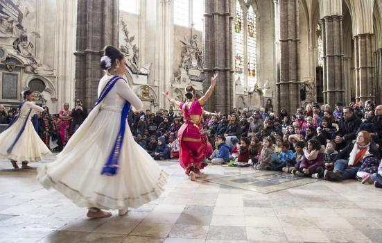 Photo of Children enjoying a performance of classical Indian dance at Westminster Abbey