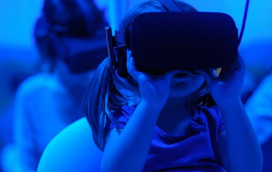 Toddler using VR headset