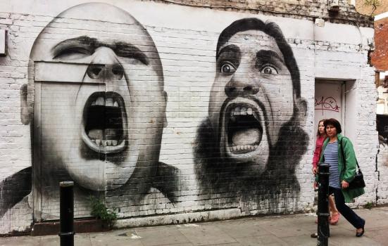 Photo of graffiti - two men shouting