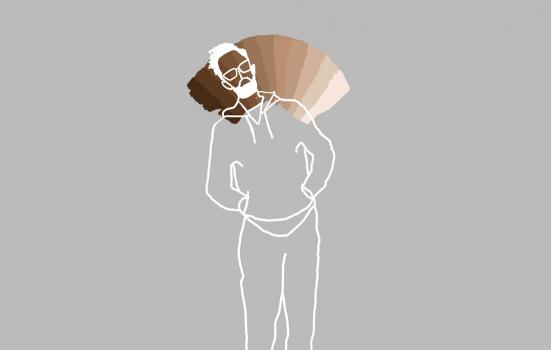 Line drawing of a man with a brown colour spectrum behind the head