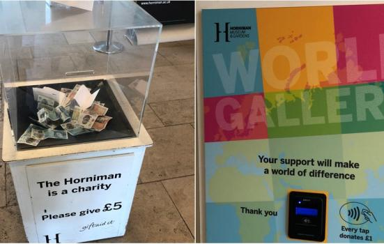 Photos of a transparent donations box and a multi-coloured contactless donations box