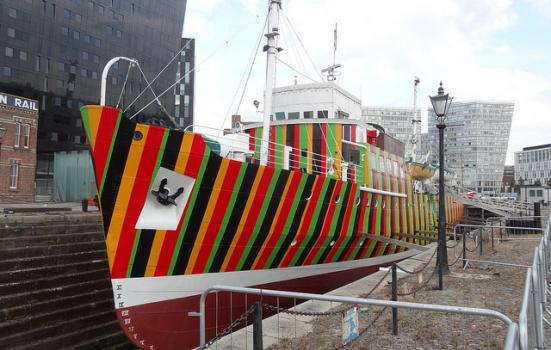 Photo of a brightly painted ship