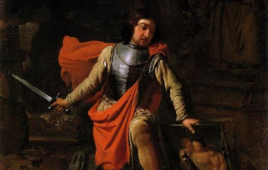 A photo of a man holding a sword over a painting and a fallen statue