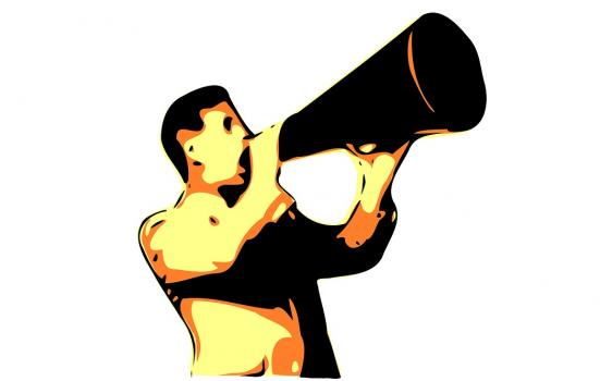 Graphic of man with megaphone