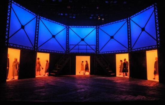 Photo of dark stage with doorways