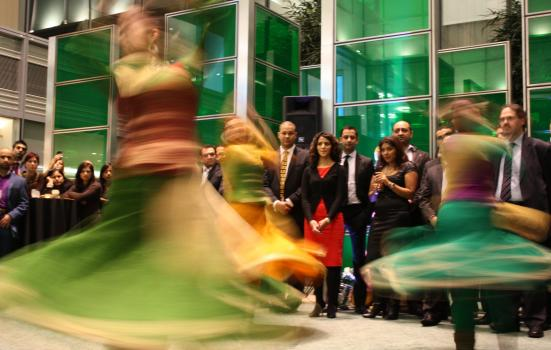 Image of dance performance outside offices