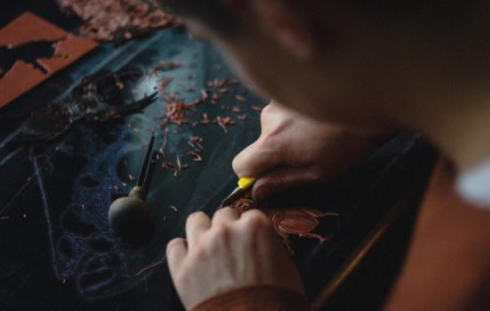Photo of a printmaker at work
