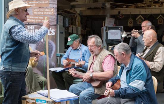 Group of men performing music