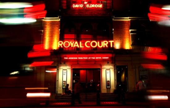 Exterior of Royal Court Theatre at night