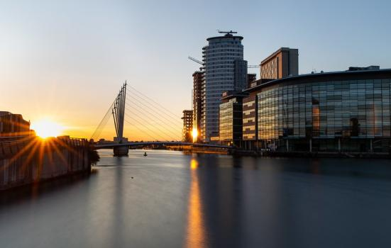 A photo of the Media City footbridge in Salford Quays