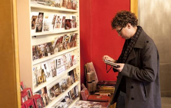 Photo of a visitor in the Soane Shop