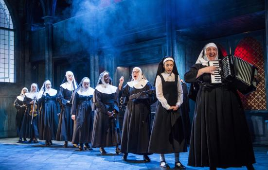 Photo of nuns on stage in Sister Act musical