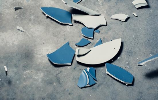 A photo of a smashed plate on the floor