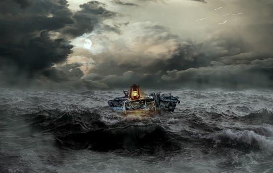 a painting of a ship in a stormy sea