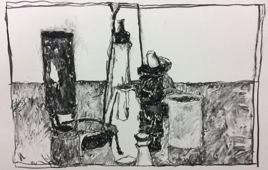 A photo of a black and white painting