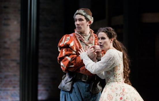 Photo of a man and a woman in a production of The Shoemaker's Holiday