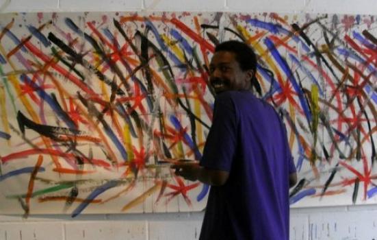 Artist Thompson Hall at work