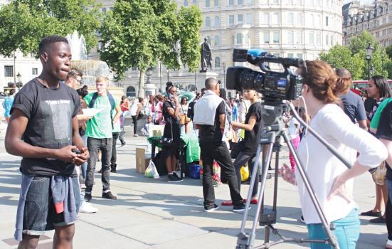 Filming in Trafalgar Square