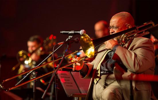 Man performing in orchestra's brass section
