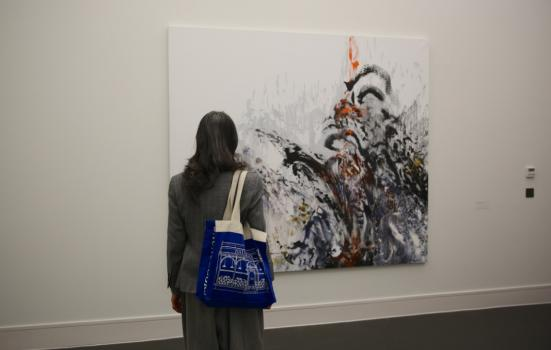 Image of woman viewing artwork