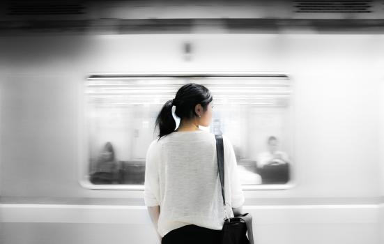 Image of woman and train
