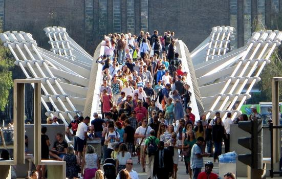 Photo of people crossing The Millennium Bridge in front of Tate Modern