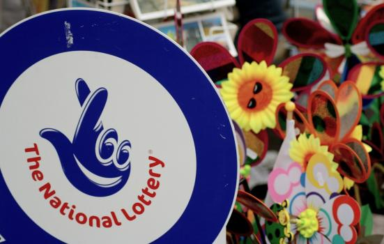 Photo of National Lottery sign in shop