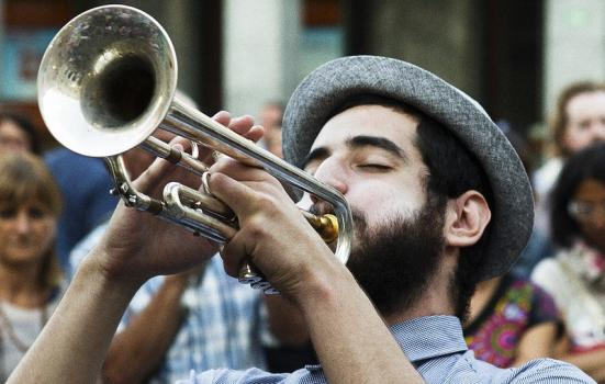 Photo of man playing the trumpet