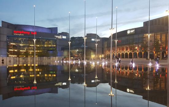 Centenary Square – a cultural hub in Birmingham at dusk