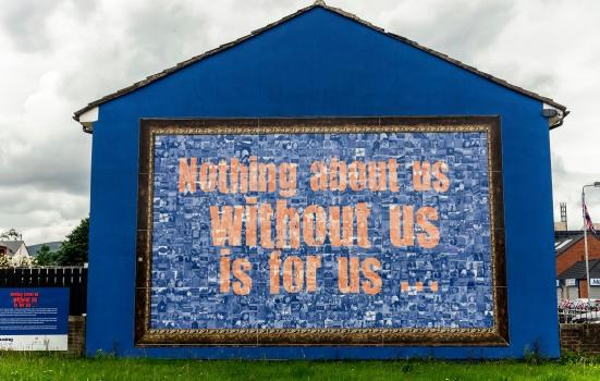 Lesley Cherry's work replaced a contentious paramilitary mural under the Arts Council of Northern Ireland's Re-imaging Communities Fund