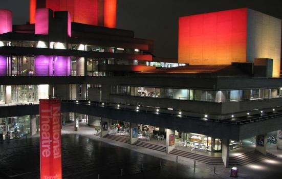 The outside of London's National Theatre at night